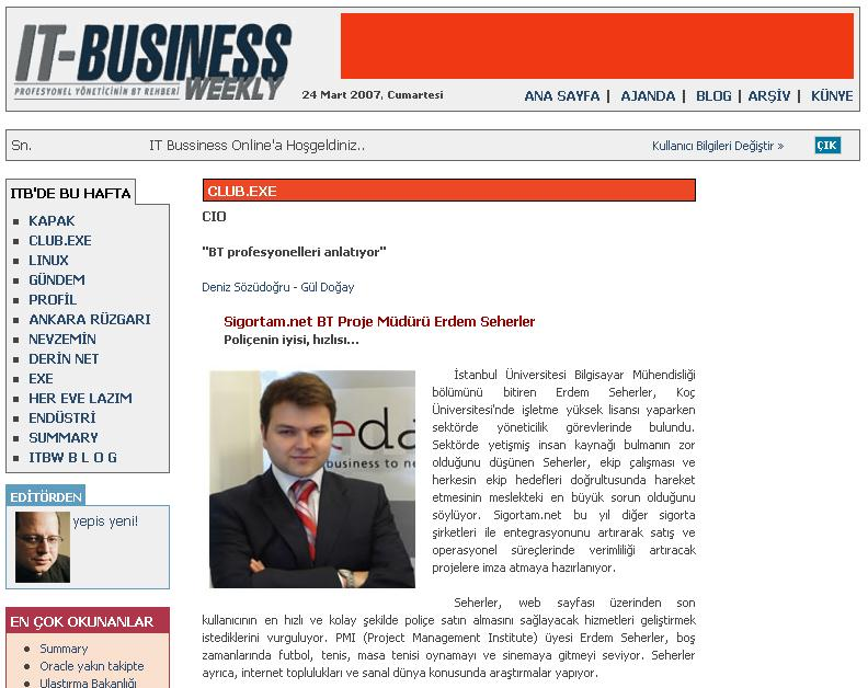 Erdem Seherler IT Business Weekly
